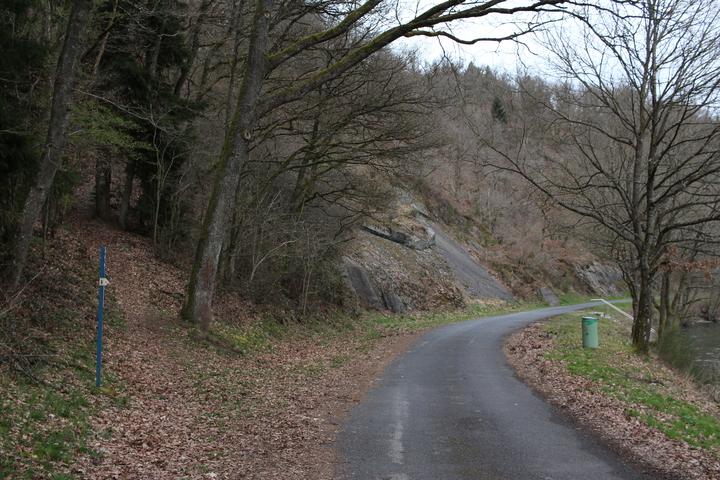 Uphill path and road
