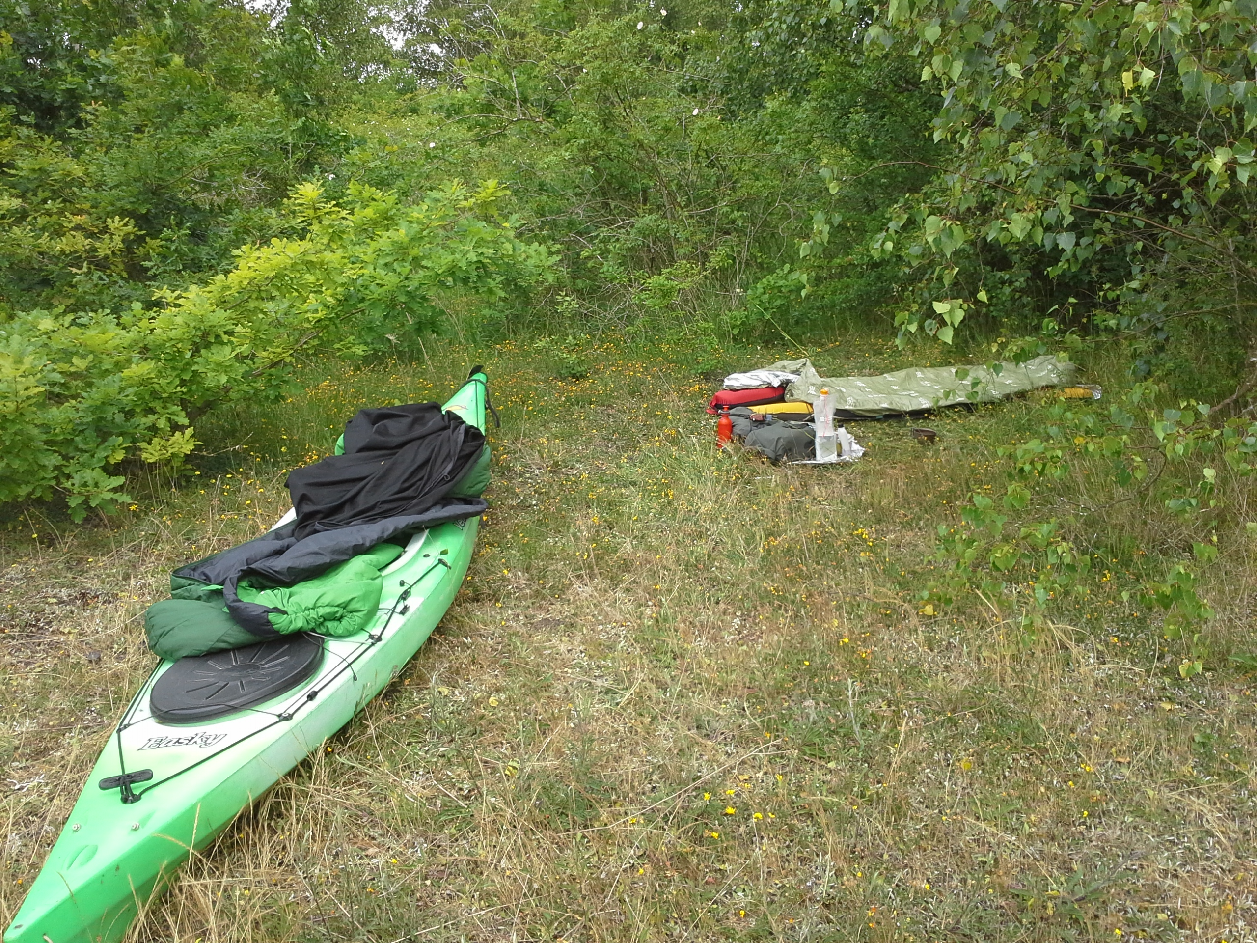 Bivvi site and kayak