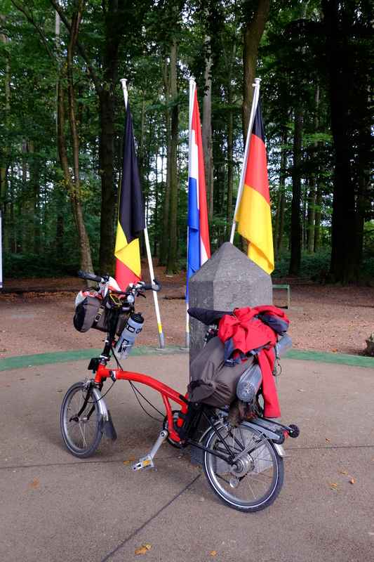 Front wheel in Germany, rear wheel in Belgium, bottom bracket in The Netherlands. An international bike.
